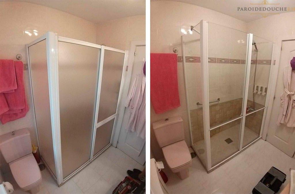 Remplacement d'une paroi de douche pour une à mobilité réduite
