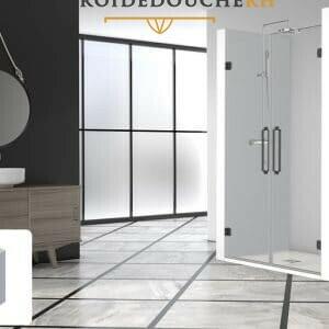 Paroi de douche en niche couleur noir portes battantes