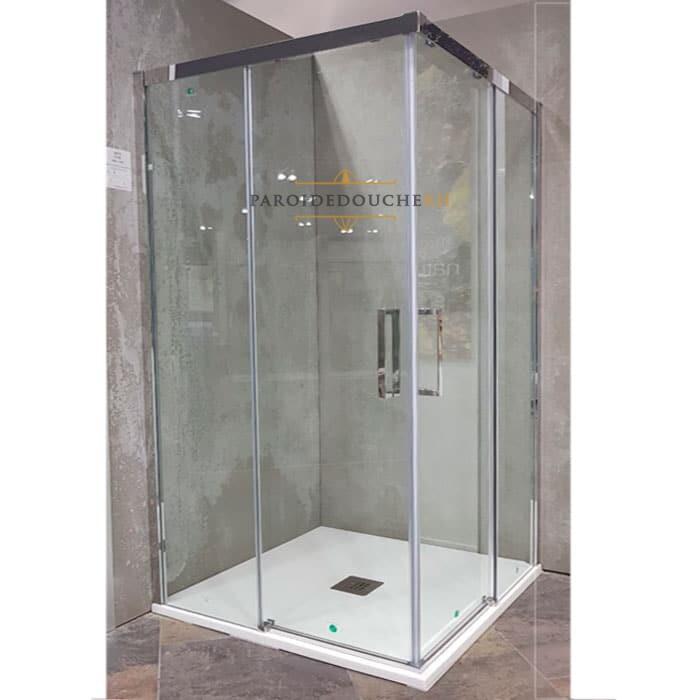 Portes de douche coulissantes en angle receveur carre