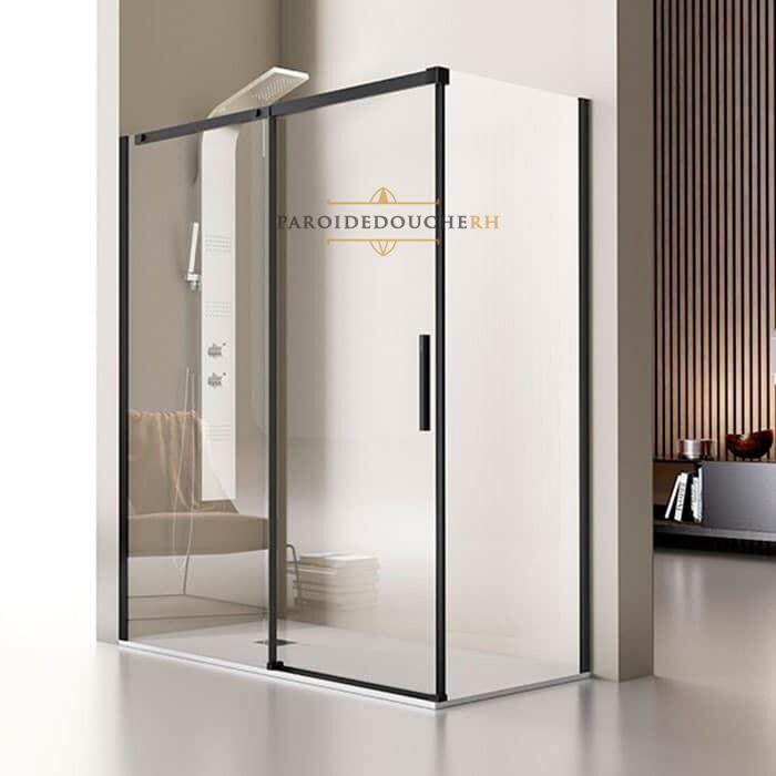 Portes de douche coulissantes en angle receveur rectangulaire